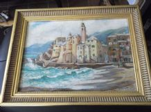 GILT FRAMED ORIGINAL OIL ON CANVAS PAINTING SIGNED MARGARET BEALE SEA HARBOUR
